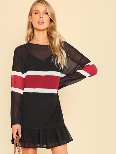 Ruffle Hem Transparent Dress