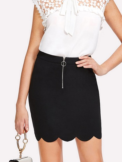 Ring Zip Up Front Scallop Edge Skirt