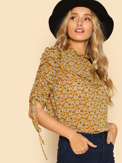 Drawstring Sleeve Frill Detail Calico Top