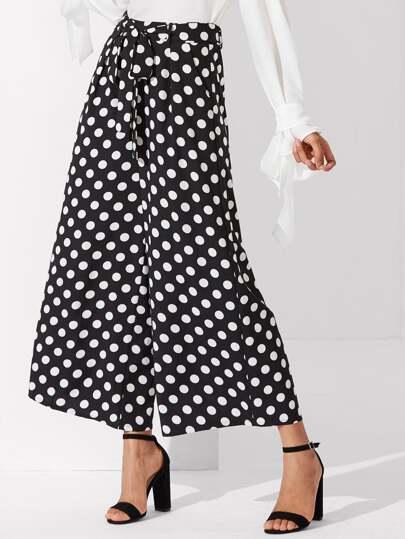 Polka Dot Print Wide Leg Pants
