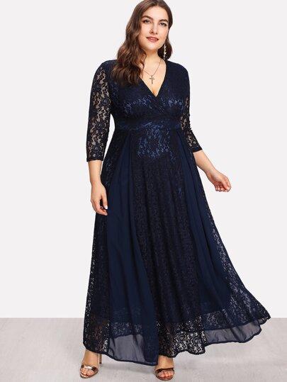 High Waist Lace Overlay Wrap Dress