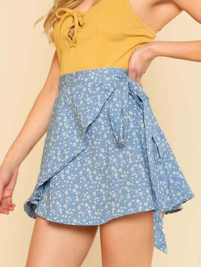 Floral Print Wrap Skirt BLUE