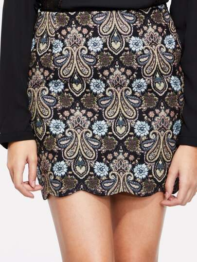 Scallop Hem Flower Embroidery Fitted Skirt