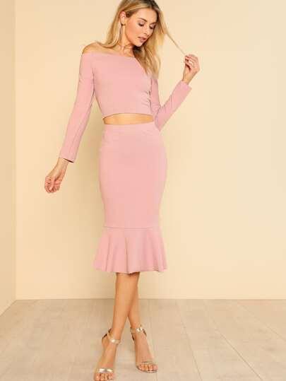 Off Shoulder Top & Fishtail Skirt Set