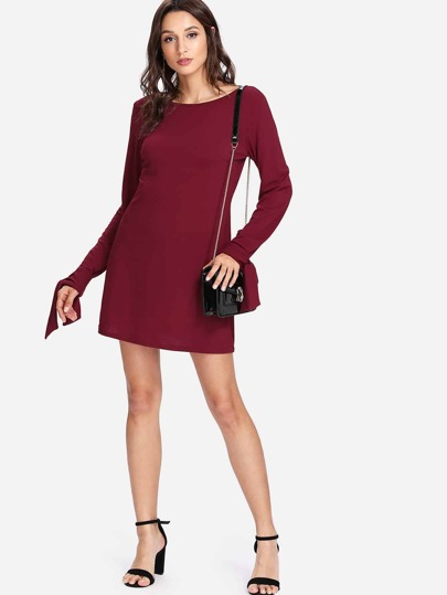 Knotted Cuff Solid Dress