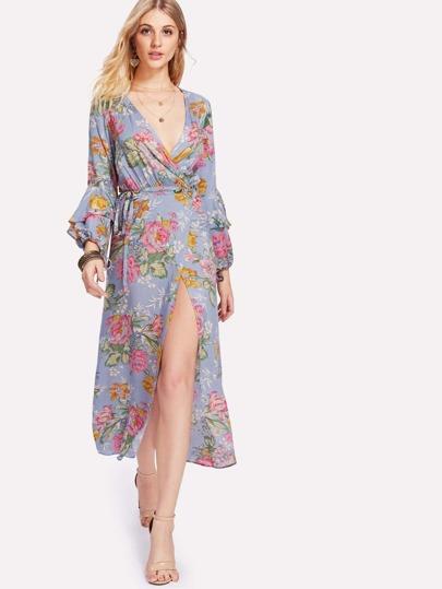 Flounce Sleeve Self Tie Floral Kimono Dress