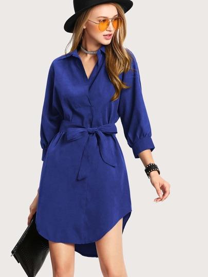 ed0cbc9bf3807 High Low Curved Hem Shirt Dress