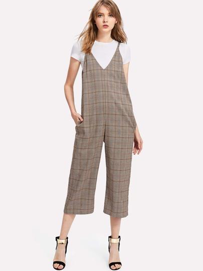 Dual V Neck Cami Plaid Jumpsuit