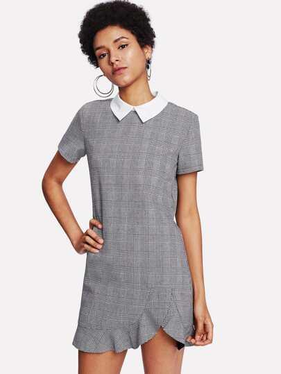 Contrast Collar Asymmetrical Ruffle Hem Plaid Dress