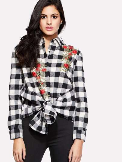 Rose Embroidery Plaid Blouse