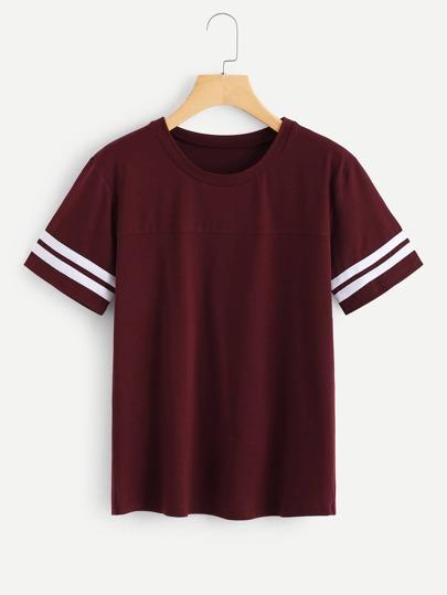 Tee-shirt poignet contrasté à rayures