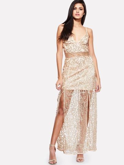 Mesh Insert M-slit Dress