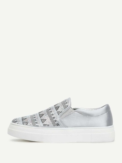 Geometric Pattern Slip On Sneakers