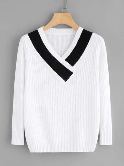 Contrast Trim Ribbed Jumper