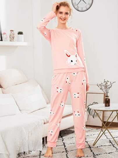 Rabbit Print Pullover & Pants PJ Set