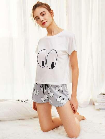 Camiseta con estampado de dibujos animados de ojo con short