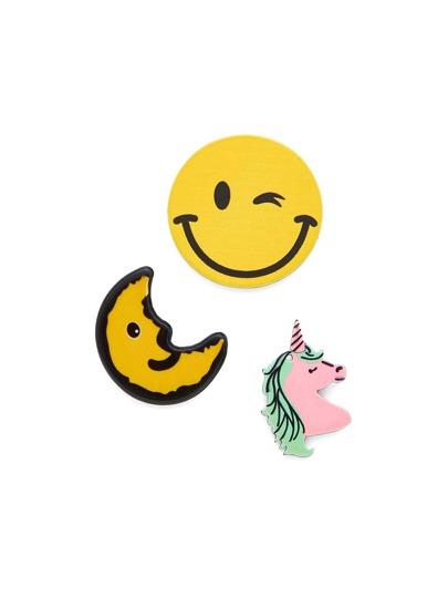 Ensemble de Broche design de lune & Emoji