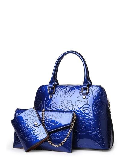 Floral Embossed Combination Bag 3pcs