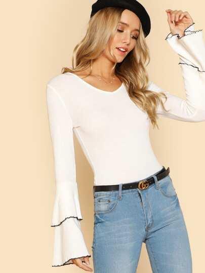 Layered Ruffle Sleeve Slim Fit T-shirt