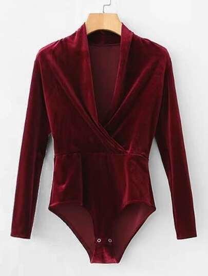 Surplice Velvet Bodysuit