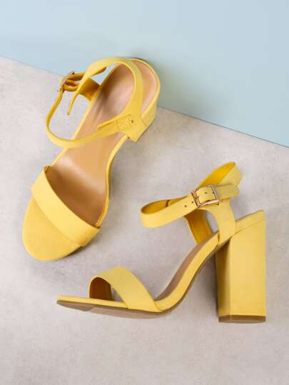 Faux Suede Single Band Ankle Strap Chunky Heel YELLOW