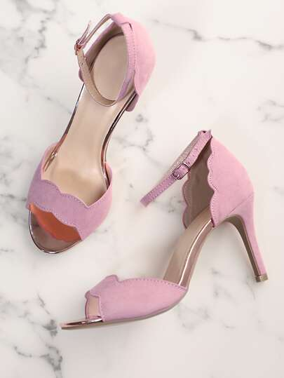 Faux Suede Scalloped Trim One Band Ankle Strap Stiletto Heel ASH LILAC