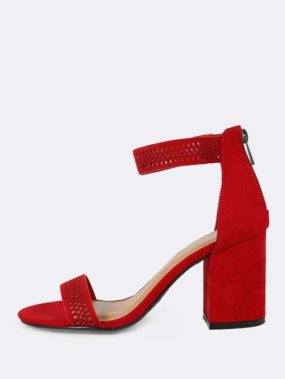 Faux Suede Cut Out Detail Single Band Ankle Strap Open Toe Heel RED
