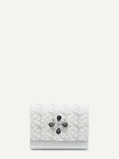 Flower Embroidered Clutch Bag With Rhinestone