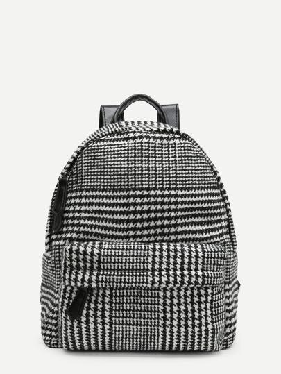 Houndstooth Print Pocket Front Backpack