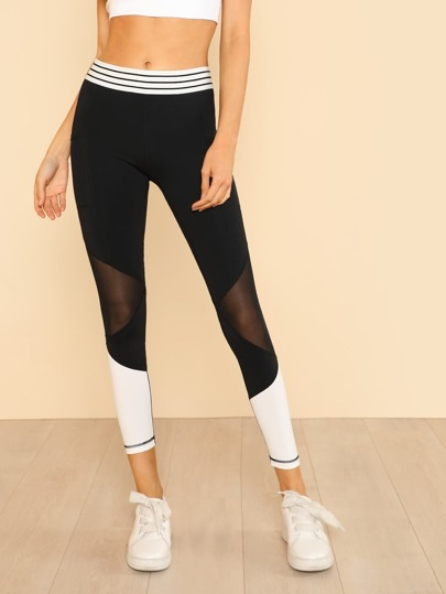Striped Waist Contrast Mesh Panel Leggings with Dual Pockets BLACK
