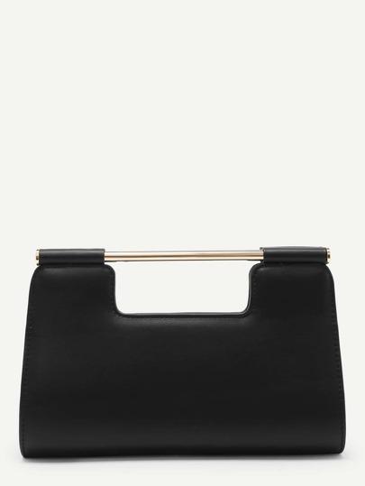 PU Clutch Bag With Metal Handle