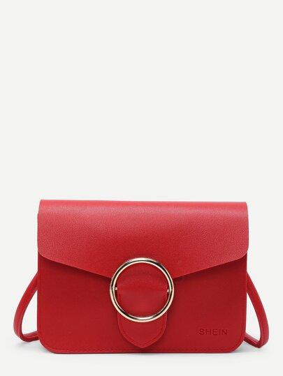 Ring Buckle Front PU Shoulder Bag