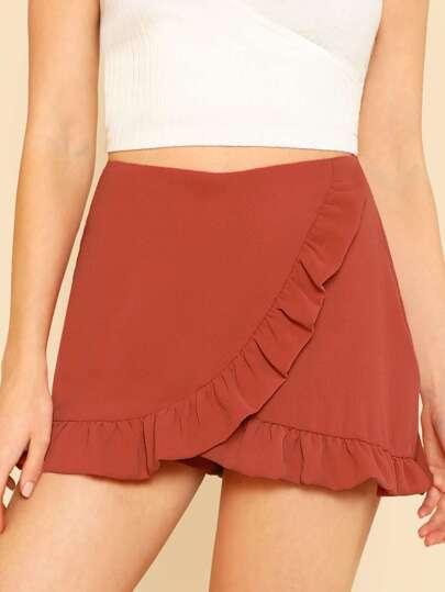 Ruffle Trim Overlap Skirt PAPAYA