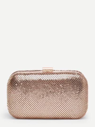 Metallic Clutch Bag With Chain