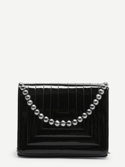 Faux Pearl Decorated Flap Chain Bag
