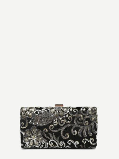 Sequin Flower Velvet Clutch Bag