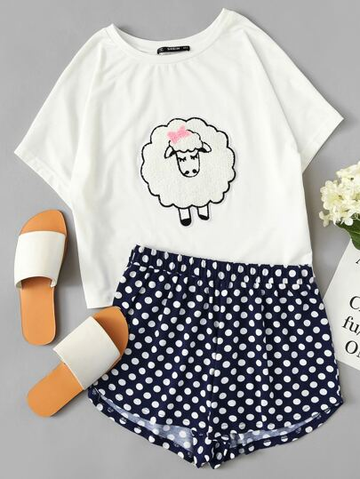 Sheep Applique Tee And Polka Dot Shorts PJ Set