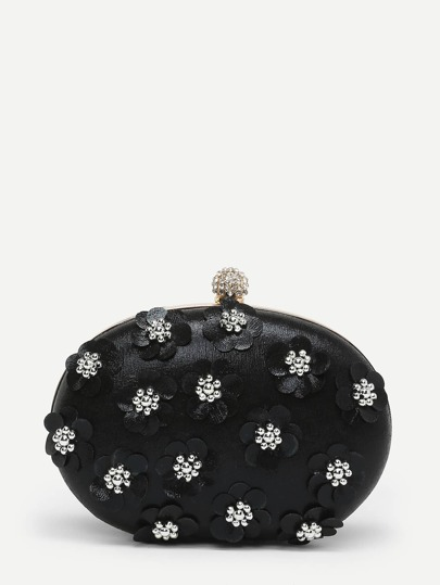 Flower Decorated Clutch Bag With Chain