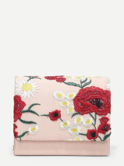 Calico Embroidered Flap Clutch Bag