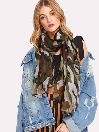 Camouflage Print Light Scarf
