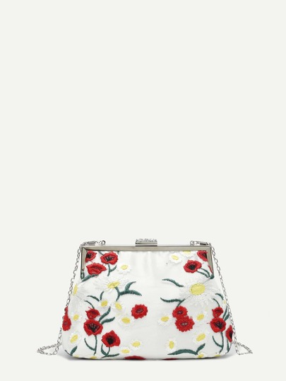 Calico Embroidered Clutch Bag