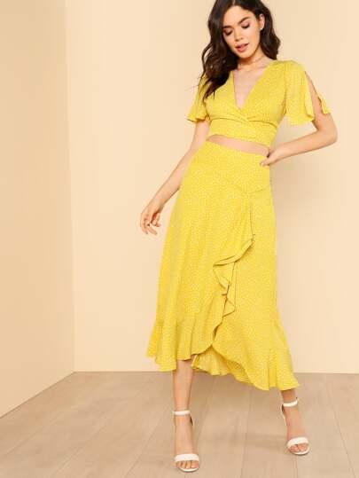 Polka Dot Ruffle Hem Front Tie Crop Top and Matching Skirt YELLOW