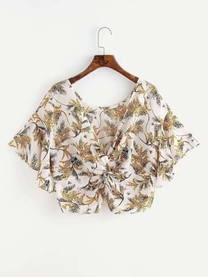 Printed Random Twist Multiway Top
