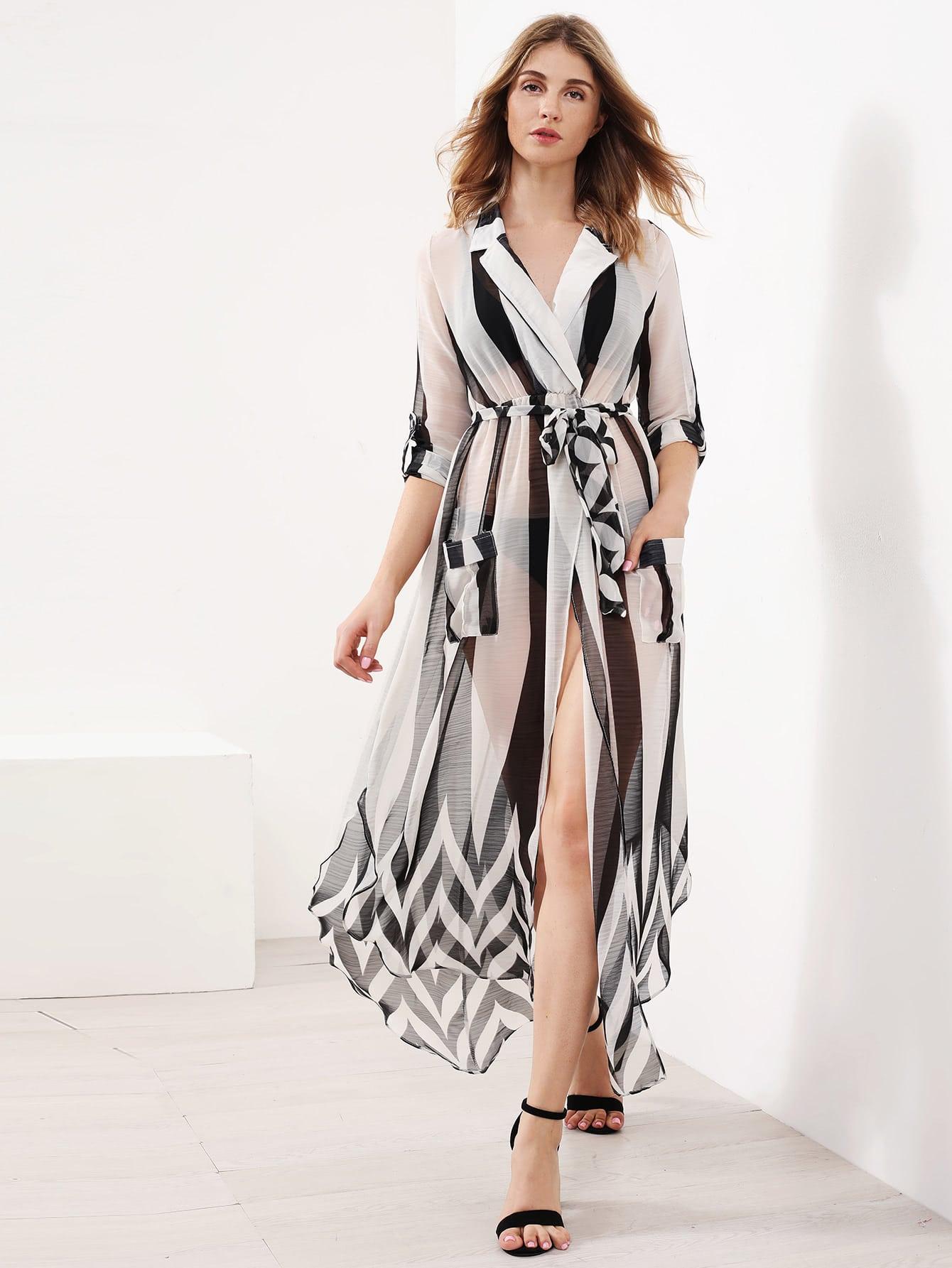 Contrast Striped Slit Side Curved Hem Shirt Dress dress170613110