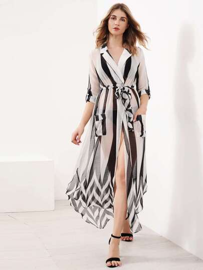 Contrast Striped Slit Side Curved Hem Shirt Dress