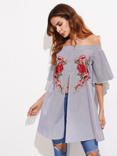 Off Shoulder Embroidered Applique Split Front Top