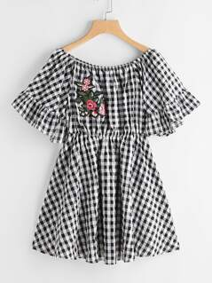 Embroidered Applique Detail Trumpet Sleeve Gingham Bardot Dress