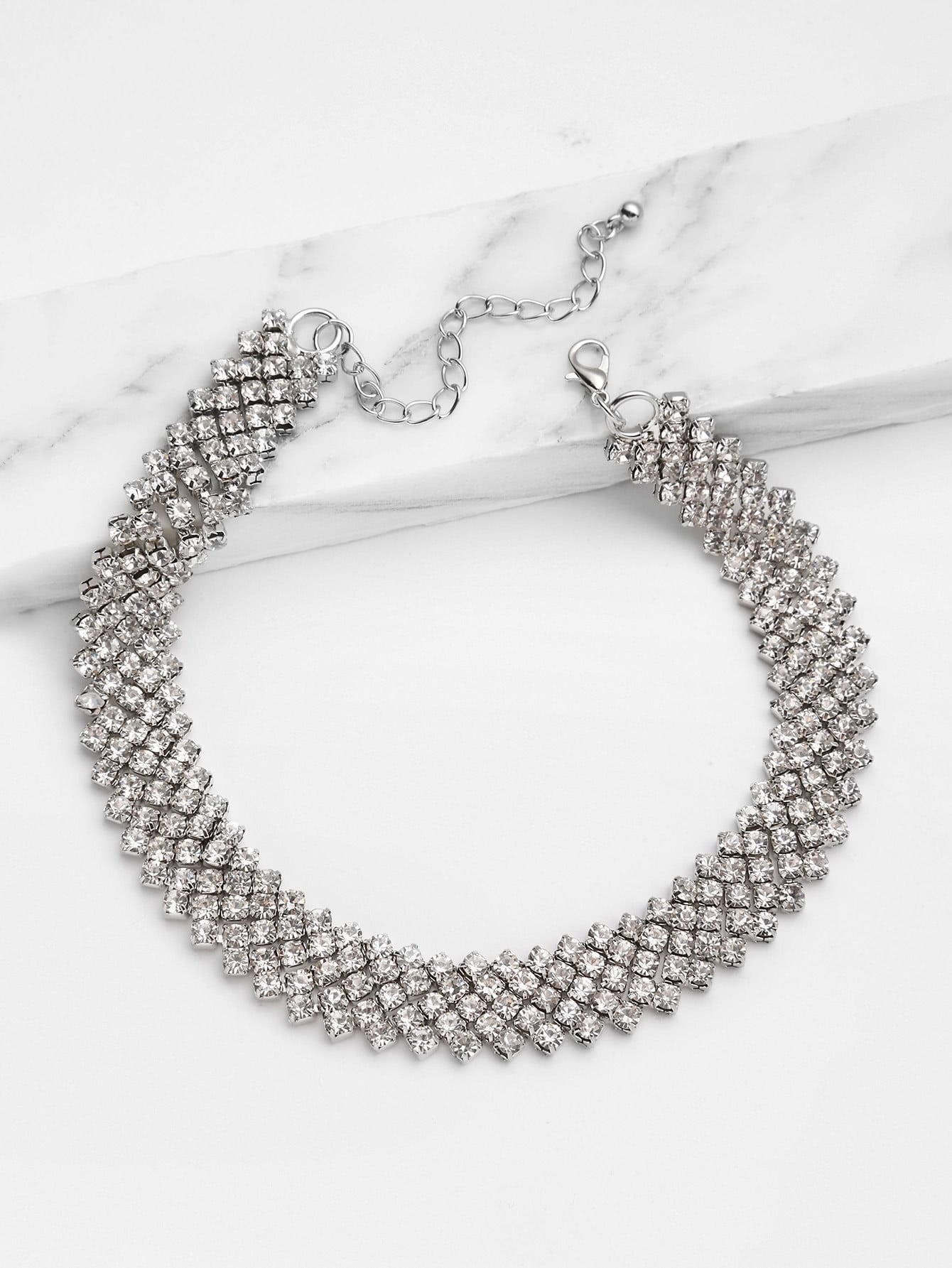 Rhinestone Embellished Chain Choker