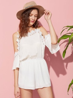Lace Trim Flutter Sleeve Elasticized Waist Playsuit
