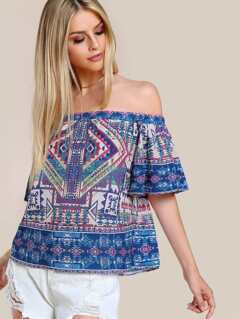 Tribal Print Off Shoulder Shirt BLUE